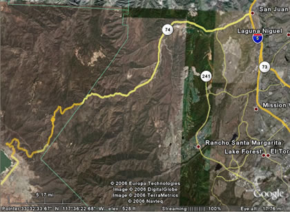 Ortega Highway Satellite Map Overview